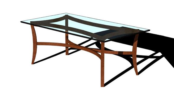 Alegre Boomerang Table Glass Top