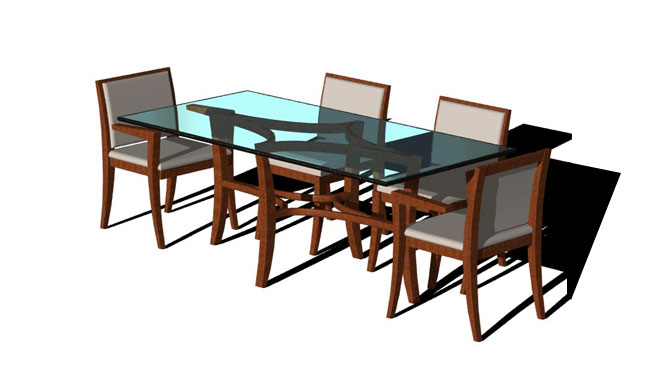 Alegre Diamond Table – Glass Top, Shown with Chairs